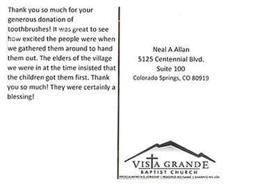 Vista Grande Baptist Church Thank You Letter